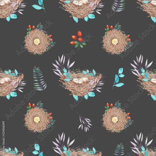 Materiał do szycia Seamless pattern with watercolor bird nests with eggs, in plants and berries, hand drawn isolated on a dark background