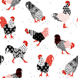 roosters with patterns
