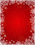 Red background with  frame of snowflakes and stars,  vector illu