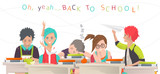 Modern vector illustration /  back to school concept /  classroom with pupils