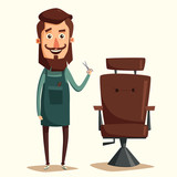 Cute barber character. Cartoon vector illustration