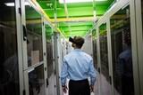 Technician using virtual reality headset