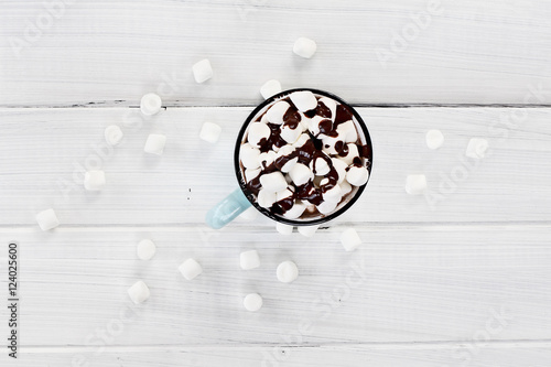 Foto op Plexiglas Chocolade Hot Cocoa with Marshmallows and Chocolate Sauce