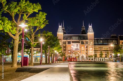Foto op Aluminium Amsterdam Rijksmuseum Amsterdam museum with words I Amsterdam, Netherlands