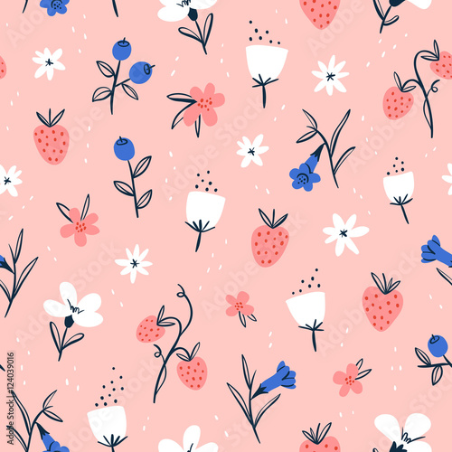 Cotton fabric Abstract flowers and berries on pink