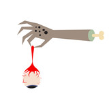 Zombie hand holding an eyeball vector illustration. Corpse hand with dangling eye.