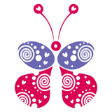 Vector illustration of decorative ornamental blue and red butterfly isolated on the white background. Series of Animals and Insects Illustrations.