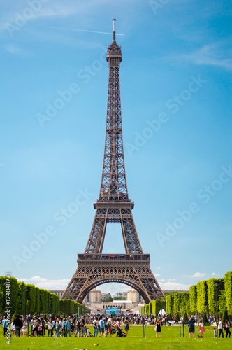 Eiffel Tower view from Champ de Mars in Paris, France Poster