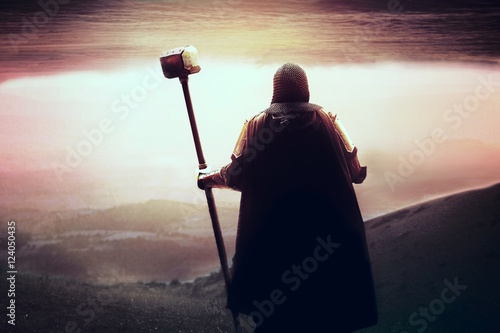 medieval Templar knight looking for holy grail Poster