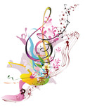 Abstract watercolor treble clef with splashes and dancing people.