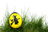 Traditional Scandinavian Easter Witch hand painted on an eggshell, nested in green spring grass