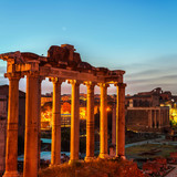 Aerial view of Roman forum in Rome