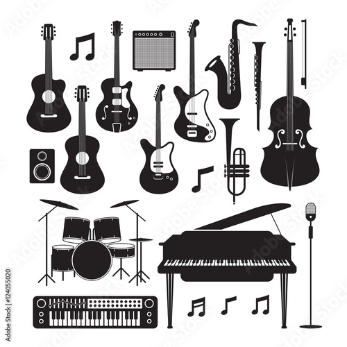 Fotobehang Muziek Jazz Music Instruments Silhouette Objects Set, Black and White Symbol and Icons Vector