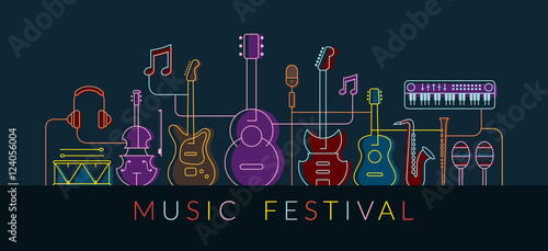 Music Instruments Objects Background, Line Design, Festival, Event, Live, Concert
