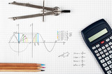 Engineering concept, sine function - calculator, compass and coloring pencils  - 124060225