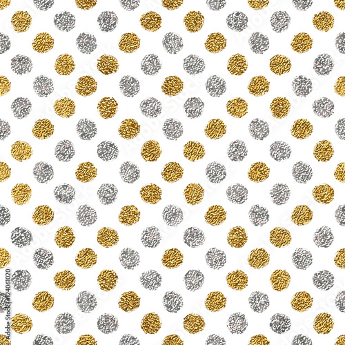 Seamless pattern of gold glitter and silver polka dots, hand drawn background of golden and silvern circle, vector pattern for flyer, wedding card, invitation, holiday, wrapping, textile, web design - 124061020