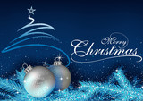 Blue Christmas Greeting with Baubles, Abstract Christmas Tree and Sparkling Needles - Background Illustration, Vector