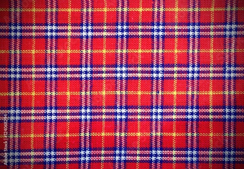 Poster Scottish tartan fabric with colored rectangles