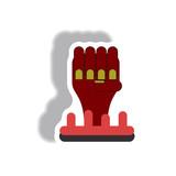 Vector illustration paper sticker Halloween icon zombie undead hand