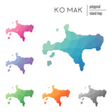 Set of vector polygonal Ko Mak maps filled with bright gradient of low poly art. Multicolored island outline in geometric style for your infographics.