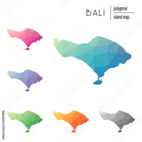 Set Of Vector Polygonal Bali Maps Filled With Bright Gradient Of Low