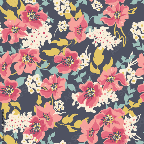 Cotton fabric Seamless floral pattern with flowers on dark background