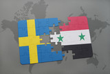 puzzle with the national flag of sweden and syria on a world map background.