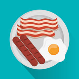 egg sausage and bacon icon. Breakfast fresh product and market theme. Colorful design. Vector illustration