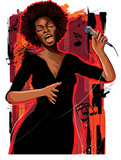 afro american jazz singer on grunge background