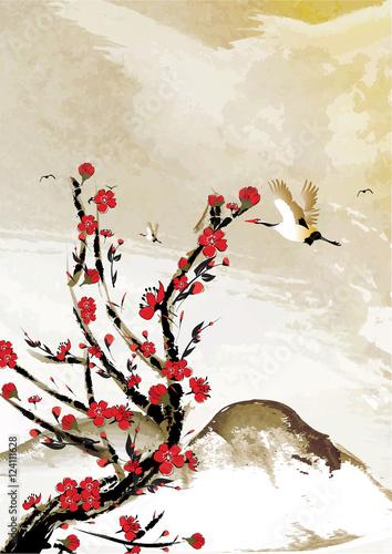gorskie-tlo-z-kwiatow-wisni-i-ptakow-zurawia