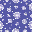 Materiał do szycia Snow flowers on a blue background. Seamless pattern. The cold color palette. Design for textiles, tableware, wrapping paper, covers, and cases.