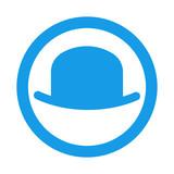 Icono plano bombin en circulo color azul