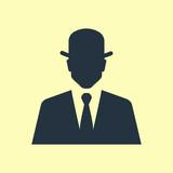 Icono plano silueta hombre con bombin sobre fondo amarillo