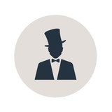 Icono plano silueta hombre con chistera en circulo gris