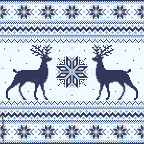 Cotton fabric Blue winter pixel background with deer and snowflakes