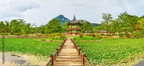 Tuinposter Seoel Gyeongbokgung Palace. South Korea. Panorama
