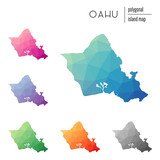 Set of vector polygonal Oahu maps filled with bright gradient of low poly art. Multicolored island outline in geometric style for your infographics.