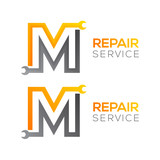 Letter M with wrench logo,Industrial,repair,tools,service and maintenance logo for corporate identity
