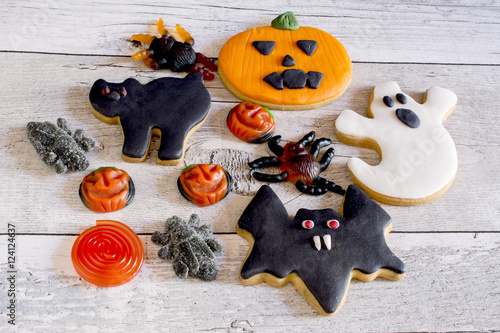Funny halloween cookies and jelly