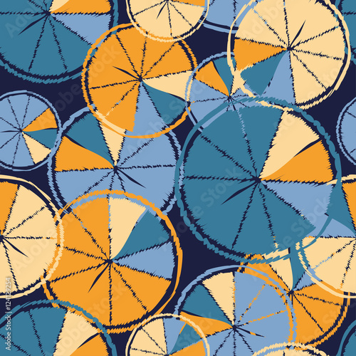 Fototapeta Ethnic boho seamless pattern with decorative oranges. Tropical fruits. Print. Repeating background. Cloth design, wallpaper.