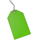 Green price tag on white background