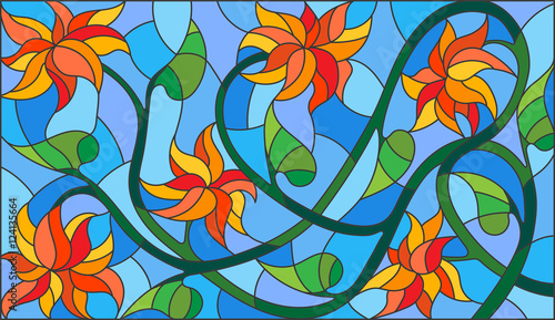 illustration-in-stained-glass-style-with-abstract-orange-flowers-on-a-blue-background-horizontal-orientation