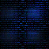 Blue binary code on black background. Computer code vector illustration background.