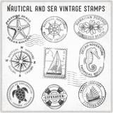 Vector sea journey vintage stamps 2