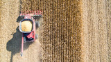 Agricultural Harvesting Corn with a Combine