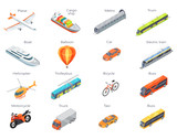 Vector Transport Icons in Isometric Projection