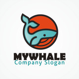Whale simple outline vector logo