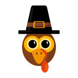 turkey character thanksgiving icon vector illustration design