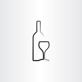 wine glass and bottle stylized vector illustration