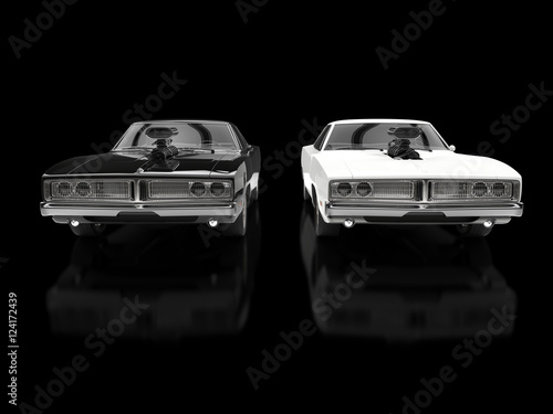 Foto op Canvas Snelle auto s Black and white muscle cars on black reflective background